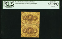 Fr. 1228 5¢ First Issue Uncut Perforated Pair PCGS Choice New 63PPQ