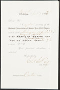 """Baseball Collectibles:Others, 1862 """"National Association of Junior Base Ball Players"""" Meeting Invitation...."""