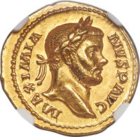 Ancients: Maximian, first reign (AD 286-310). AV aureus (19mm, 5.47 gm, 12h). NGC Choice AU 5/5 - 4/5, light scuff