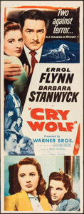"Movie Posters:Mystery, Cry Wolf (Warner Bros., 1947). Folded, Fine+. Insert (14"" X 36""). Mystery.. ..."