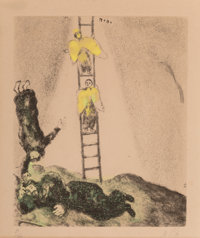 Marc Chagall (1887-1985) Jacob's Ladder, plate 14, from Bible, 1958 Etching with hand coloring on paper 11-5/8 x