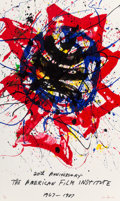 Prints & Multiples, Sam Francis (1923-1994). Twentieth Anniversary: The American Film Institute, 1987. Screenprint in colors on paper. 34 x ...