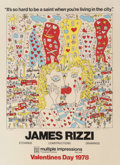 Prints & Multiples, After James Rizzi . It So Hard To Be a Saint When You're Living In the City, exhibition poster, 1978. Screenprint in col...