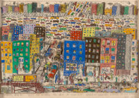 James Rizzi (1950-2011) It's So Hard To Be a Saint When You're Living In the City, 1977 3-D intaglio