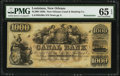 New Orleans, LA- New Orleans Canal and Banking Company $1000 18__ G80a Remainder PMG Gem Uncirculated 65 EPQ