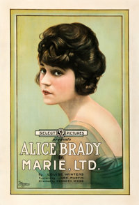 "Marie, Ltd. (Select, 1919). Very Good on Linen. One Sheet (28.5"" X 42"")"