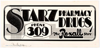 Edgar Church Starz Pharmacy Decorative Advertising Original Art (Ideal Art Service, c. 1930s-1940s)