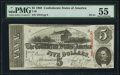Confederate Notes:1863 Issues, T60 $5 1863 PF-21 Cr. 459 PMG About Uncirculated 55.. ...