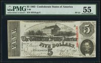 T60 $5 1863 PF-21 Cr. 459 PMG About Uncirculated 55