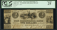 Salem, MA- The Commercial Bank $2 June 7, 1851 PCGS Very Fine 25