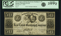 Decatur, AL- Mississippi and Alabama Real Estate Banking Company $50 Feb. 5, 1839 PCGS Very Fine 25PPQ