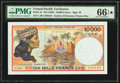French Pacific Territories Institut d'Emission d'Outre-Mer 10,000 Francs ND (1985) Pick 4e PMG Gem Uncirculated 66