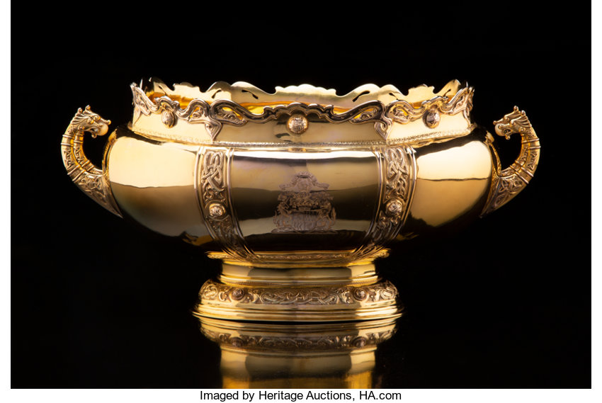 Silver & Vertu, A Rattray & Co. 9K Gold Center Bowl Presented to the Earl ...