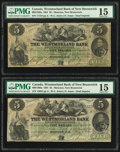 World Currency, Canada Moncton, NB- Westmorland Bank 5 Dollars 1.8.1861 Ch.# 800-12-06a Two Examples PMG Choice Fine 15.