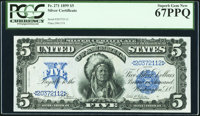 Fr. 271 $5 1899 Silver Certificate PCGS Superb Gem New 67PPQ