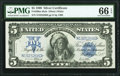 Large Size:Silver Certificates, Fr. 280 $5 1899 Mule Silver Certificate PMG Gem Uncirculated 66 EPQ.. ...