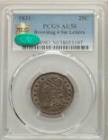 Bust Quarters, 1831 25C Small Letters, B-4, R.1, AU50 PCGS. CAC. PCGS Population: (1/6 and 0/0+). NGC Census: (2/17 and 0/0+). AU50.. ...