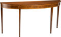 Furniture, A George III-Style Inlaid Mahogany and Satinwood Demilune Console Table, 19th century . 33-3/8 x 68 x 19-1/4 inches (84.8 x ...