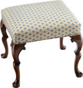 Furniture, A Queen Anne-Style Walnut Foot Stool, late 19th century . 20 x 21-3/4 x 19-1/2 inches (50.8 x 55.2 x 49.5 cm). ...
