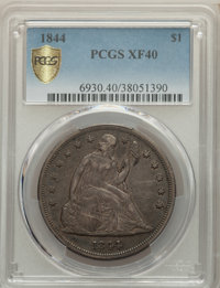 1844 $1 XF40 PCGS. PCGS Population: (36/218 and 0/0+). NGC Census: (12/143 and 0/0+). CDN: $650 Whsle. Bid for problem-f...