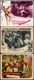 "Movie Posters:Adventure, Tarzan and the Huntress & Other Lot (RKO, 1947). Overall: Fine+. Lobby Cards (3) (11"" X 14""). Adventure.. ... (Tota..."