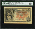 World Currency, Cuba El Tesoro De La Isla De Cuba 5 Pesos 12.8.1891 Pick 39r Remainder PMG About Uncirculated 55.. ...