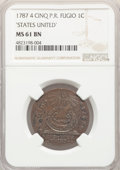 Colonials, 1787 CENT Fugio Cent, STATES UNITED, 4 Cinquefoils, Pointed Rays, MS61 Brown NGC. N. 13-X, W-6855, R.2....
