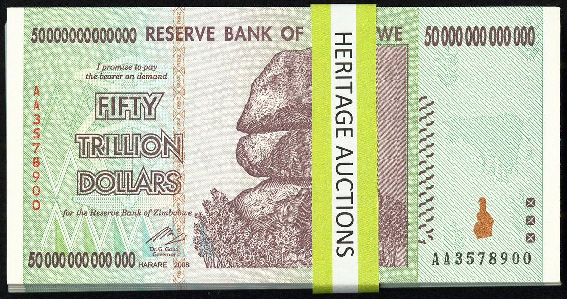 ZIMBABWE 2008 3 CONSECUTIVE 100 TRILLION DOLLAR UNC AA SERIES NOTES FROM PACK