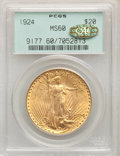 1924 $20 MS60 PCGS. Gold CAC. PCGS Population: (1934/304003). NGC Census: (726/323331). MS60. Mintage 4,323,500. ...(PCG...
