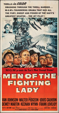 """Men of the Fighting Lady & Other Lot (MGM, 1954). Folded, Fine. Three Sheet (41"""" X 78.5"""") & On..."""