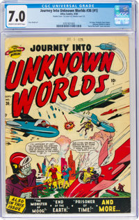 Journey Into Unknown Worlds #36 (#1) Double Cover (Atlas, 1950) CGC FN/VF 7.0 Cream to off-white pages