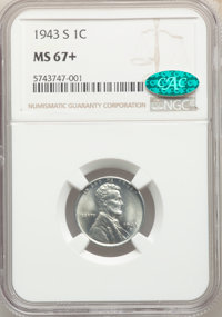 1943-S 1C MS67+ NGC. CAC. NGC Census: (2648/54). PCGS Population: (2134/114). CDN: $160 Whsle. Bid for problem-free NGC/...