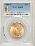 Indian Eagles: , 1908-S $10 MS65 PCGS. Pop (13/20), CDN Collector Price ($25400.00), CCDN Price ($2300.00), Trends ($28500.00), CAC (5/6)