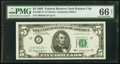 Fr. 1967-J* $5 1963 Federal Reserve Star Note. PMG Gem Uncirculated 66 EPQ