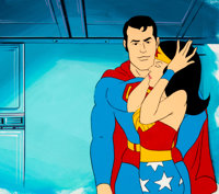 Super Friends Superman and Wonder Woman Production Cel and Master Background Setup (Hanna-Barbera, c. 1970s-1980s)