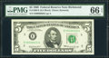 Low Serial Number 6620 Fr. 1969-E $5 1969 Federal Reserve Note. PMG Gem Uncirculated 66 EPQ