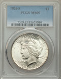 1926-S $1 MS65 PCGS. PCGS Population: (793/110). NGC Census: (371/36). CDN: $550 Whsle. Bid for problem-free NGC/PCGS MS...