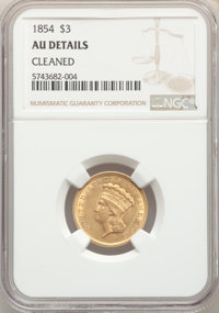1854 $3 -- Cleaned -- NGC Details. AU. Mintage 138,618....(PCGS# 7969)