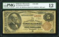 National Bank Notes:Wisconsin, Oshkosh, WI - $5 1882 Brown Back Fr. 471 The National Union Bank Ch. # 4508 PMG Fine 12.. ...