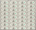 Fr. 1915-J $1 1988A Federal Reserve Notes Uncut Sheet of 32 About Uncirculated
