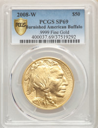 2008-W $50 One-Ounce Gold Buffalo SP69 PCGS. PCGS Population: (344/261 and 0/0+). NGC Census: (263/1300 and 0/0+). CDN:...