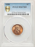 Lincoln Cents, 1950 1C MS67 Red PCGS. PCGS Population: (77/0 and 6/0+). NGC Census: (79/0 and 0/0+). CDN: $800 Whsle. Bid for problem-free...