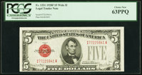 Fr. 1531 $5 1928F Wide II Legal Tender Note. PCGS Choice New 63PPQ