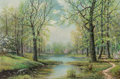 Paintings, William Robert Thrasher (American, 1908-1997). Spring Creek. Oil on canvas. 24 x 36 inches (61.0 x 91.4 cm). Signed lowe...
