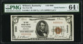 Wilmore, KY - $5 1929 Ty. 1 The First National Bank Ch. # 9880 PMG Choice Uncirculated 64 EPQ.<