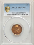 Proof Lincoln Cents: , 1941 1C PR64 Red PCGS. PCGS Population: (861/1009). NGC Census: (315/467). CDN: $70 Whsle. Bid for problem-free NGC/PCGS PR...