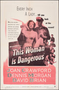"""Movie Posters:Drama, This Woman Is Dangerous (Warner Bros., 1952). Folded, Overall: Very Fine-. One Sheet (27"""" X 41"""") & Lobby Card Set of ..."""