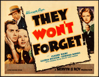 """They Won't Forget (Warner Bros., 1937). Very Fine. Linen Finish Title Lobby Card (11"""" X 14""""). Mystery"""