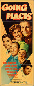 "Movie Posters:Comedy, Going Places (Warner Bros., 1938). Folded, Fine/Very Fine. Linen Finish Insert (14"" X 36""). Comedy.. ..."