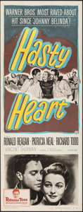 "Hasty Heart (Warner Bros., 1950). Folded, Fine/Very Fine. Insert (14"" X 36"") & Lobby Card (11"" X..."